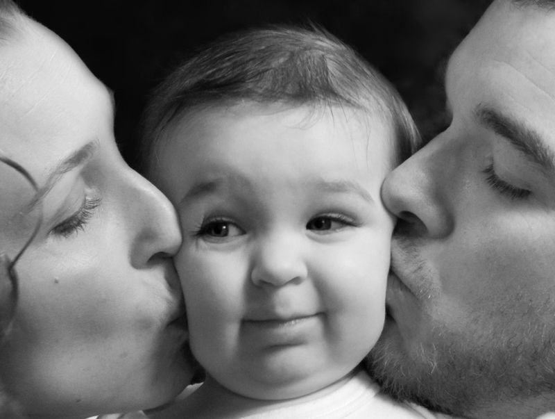 Mom and Dad kissing MR