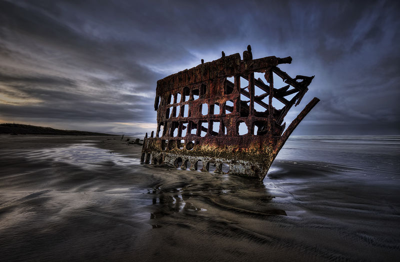 """Winner July Landscape   Theme: """"HDR Landscapes""""   Wreck of the Peter Iredale   Nikon D800, F/16, ISO 100, 16-35VR @ 16mm 5-image HDR at 1-stop intervals"""