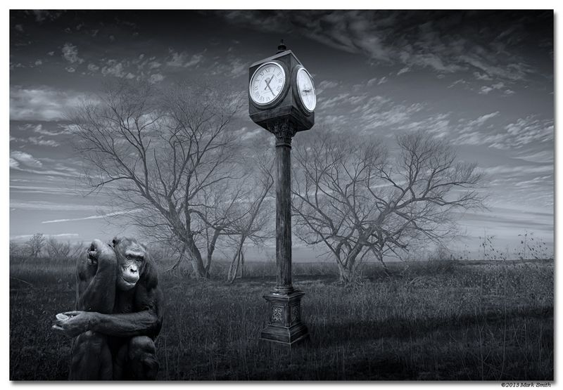 """Winner March Landscape  Theme: """"Digital Artistry""""   Nothing but Time  Three B&W converted images blend: The chimp picture was taken with a Nikon D700 and 70-200mm f/2.8 Nikkor lens. The clock was taken with the Nikon D700 and 17-35mm f/2.8D AF-S Nikkor lens. The landscape was an infrared shot taken with a converted Nikon D200, 18-70mm DX Nikkor lens @ 18mm."""